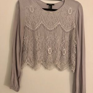 Forever 21 | Lace Long Sleeve Crop Top~L